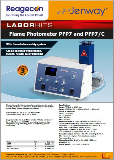 Jenway Flame Photometer PFP7  and PFP7/C