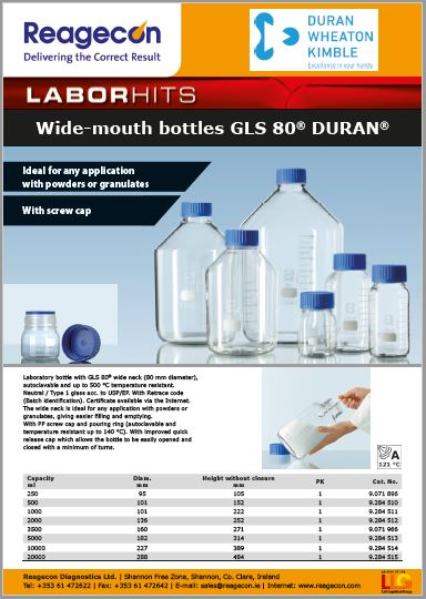 DURAN Wide Mouth Bottles GLS80